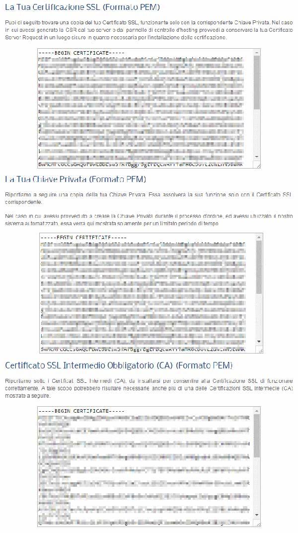Pannello certificazione SSL