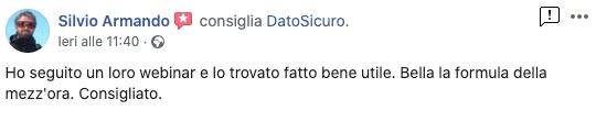 Recensione Facebook di Silvio Armando